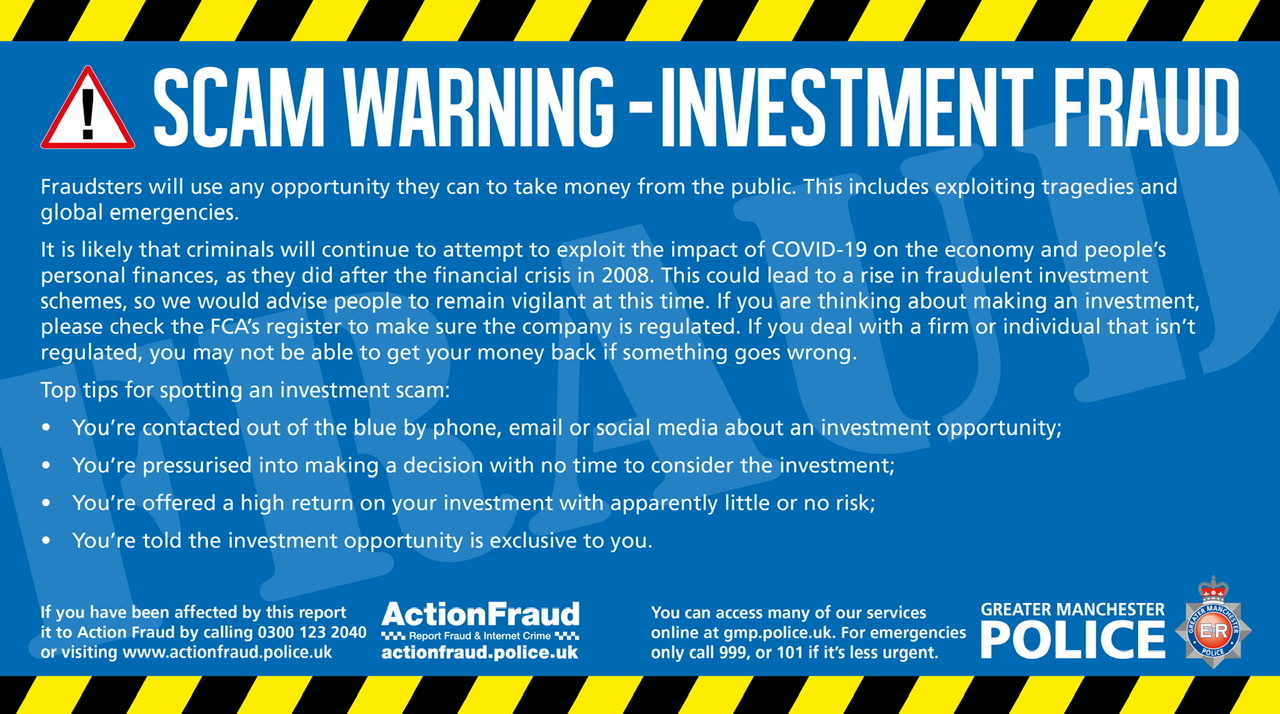 Gmp S Warning On Avoiding Investment Scams About Manchester